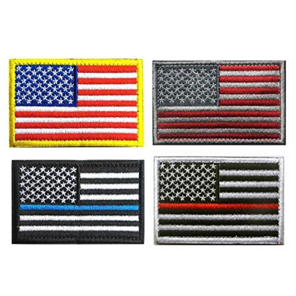 Antrix Airsoft Morale Patch 1 Antrix 4 PCS Tactical American Flag Patch, USA Flag Patch,US Flag Patch, Thin Blue Line Thin Red Line Embroidered Emblem Badge Applique Fastener Hook & Loop Patch for Clothes Caps Uniform Backpack