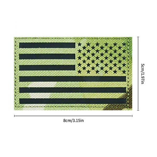 HarryMystery Airsoft Morale Patch 2 2 Pack Infrared IR Reflective USA American Reversed Flag Tactical Morale Fastener Hook and Loop Patch Forward and Reversed for Hats, Clothes, Backpacks, Uniforms, Tactical Gears, etc. (02)