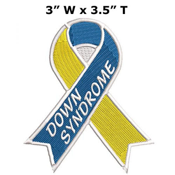 """Appalachian Spirit Airsoft Morale Patch 2 Down Syndrome Blue Yellow Awareness Ribbon Series 3.5"""" Embroidered DIY Iron on or Sew-on Decorative Patch Badge Emblem Appliques"""