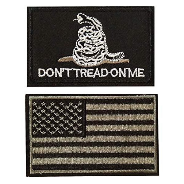 CZorange Airsoft Morale Patch 1 Don't Tread on Me Tactical Patch Military Morale Patch with USA Flag Patches Black