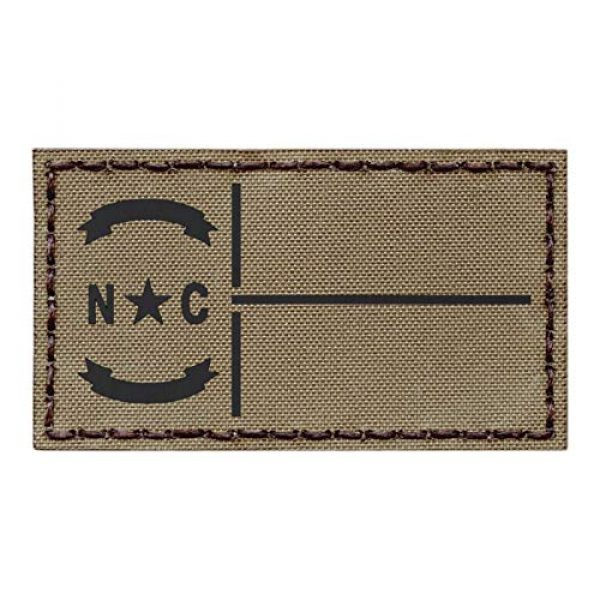 Tactical Freaky Airsoft Morale Patch 1 IR Tan North Carolina State Flag Coyote Brown 2x3.5 Infrared IFF Tactical Morale Fastener Patch