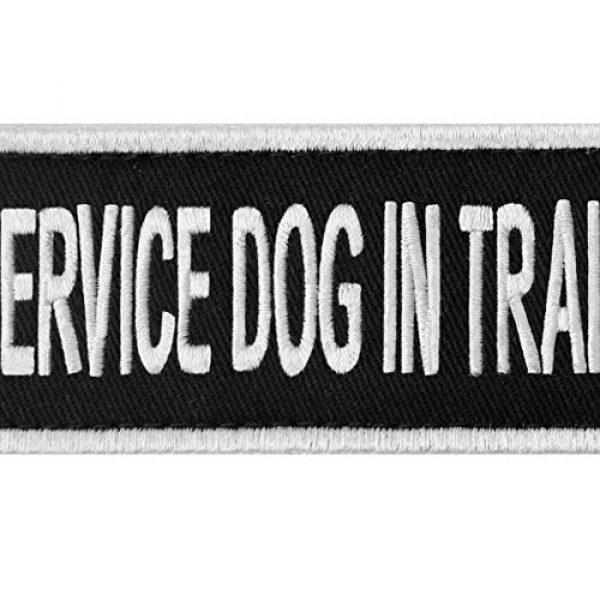 EmbTao Airsoft Morale Patch 2 Service Dog in Training Sign Vests/Harnesses Patch Embroidered Badge Fastener Hook & Loop Emblem, 6 X 2 Inches
