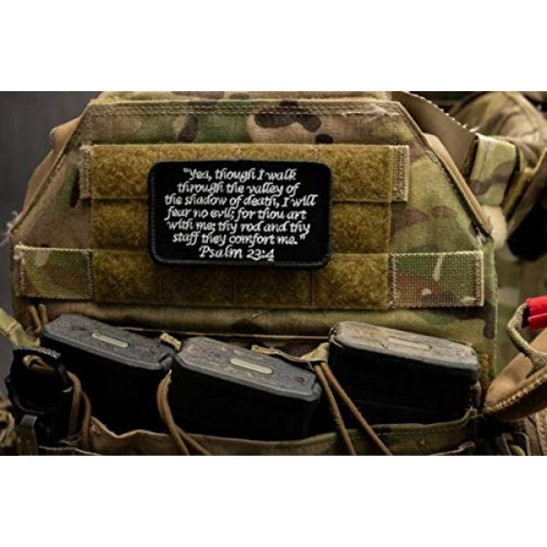 BASTION Airsoft Morale Patch 2 BASTION Morale Patches (Psalm 23:4, Black)   3D Embroidered Patches with Hook & Loop Fastener Backing   Well-Made Clean Stitching   Christian Patches Ideal for Tactical Bag, Hats & Vest