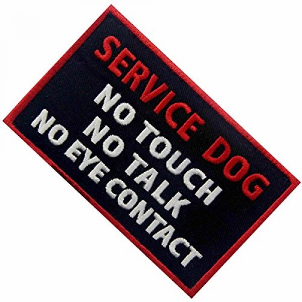 EmbTao Airsoft Morale Patch 4 Service Dog No Touch No Talk No Eye Contact Vests/Harnesses Emblem Embroidered Fastener Hook & Loop Patch