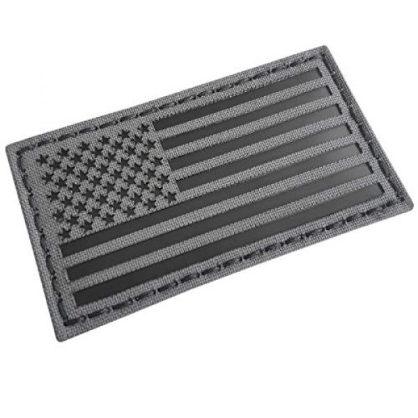 Tactical Freaky Airsoft Morale Patch 6 Tactical Freaky Wolf Gray Bundle Set of 2 pcs IR USA American Flags Forward Reversed Infrared Morale Fastener Patches