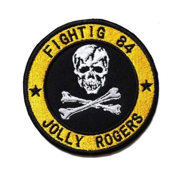 Tactical Embroidery Patch Airsoft Morale Patch 1 Jolly Rogers Fighter Squadron VF-84 Fighting 84 Embroidery Patch Military Tactical Morale Patch Badges Emblem Applique Hook Patches for Clothes Backpack Accessories