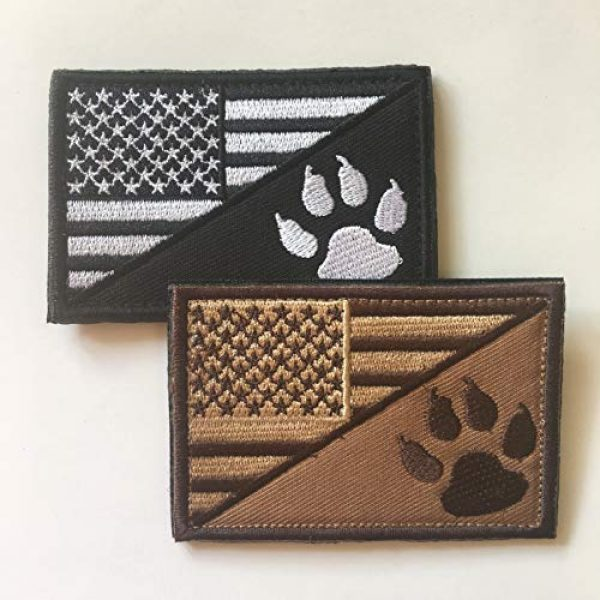 Xunqian Airsoft Morale Patch 4 USA American Flag w/Dog Tracker Paw Embroidered Applique Hook & Loop Patch (D-Bundle 2pcs Brown,Black)