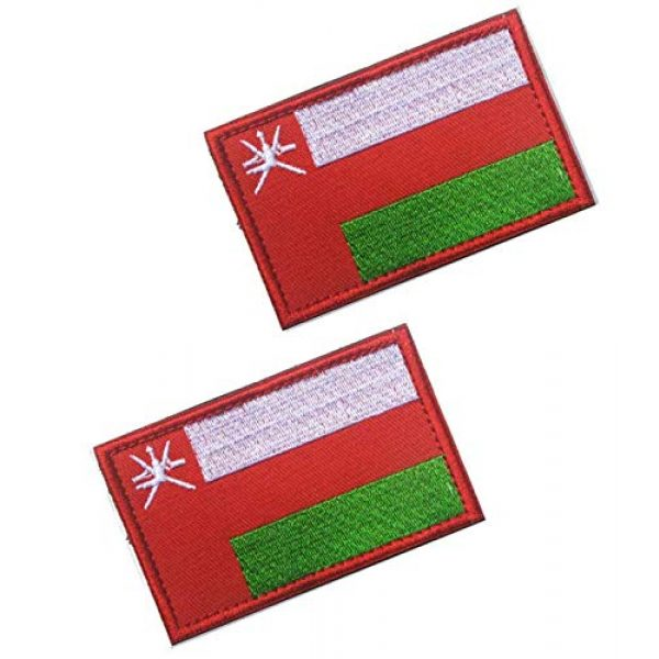Tactical Embroidery Patch Airsoft Morale Patch 1 2pcs Oman Flag Embroidery Patch Military Tactical Morale Patch Badges Emblem Applique Hook Patches for Clothes Backpack Accessories