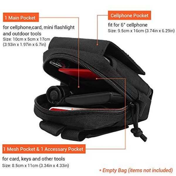 XYAM Tactical Pouch 3 XYAM Tactical Molle Pouch Military Waist Bag Outdoor Men Tool Bag Vest Pack Purse Mobile Phone Case Hunting Compact Bag(Black)