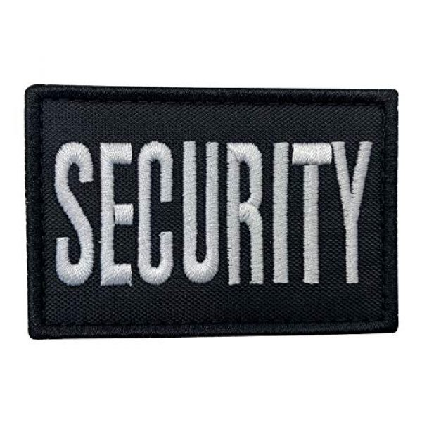 """uuKen Airsoft Morale Patch 1 uuKen Embroidery Black and White Security Guard Tactical Hat Cap Patch 3x2 inches Back with Hook Fastener (Black and White, for Hat 3""""x2"""")"""