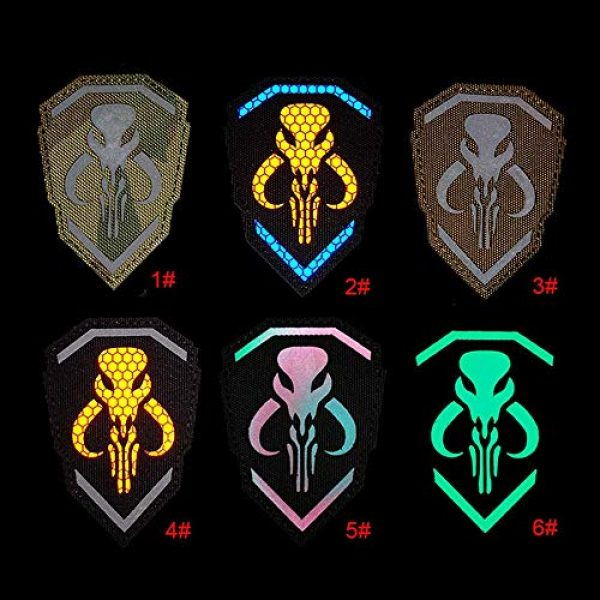 Kseen Airsoft Morale Patch 5 2 Pack IR Bounty Hunter Reflective Mythosaur Infrared Patch Star Wars Mandalorian Tactical Military Fastener Morale Shoulder with Hook and Loop Backing Embroidered CP Patches