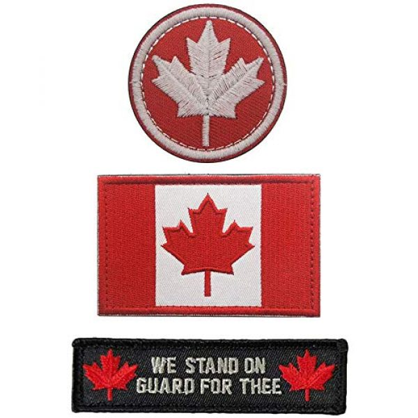 Kseen Airsoft Morale Patch 1 3 Pieces Canada Flag Patch Canadian Tactical Morale National Patches Sew On Military Emblem Embroidered Badge Applique Hook and Loop Shoulder
