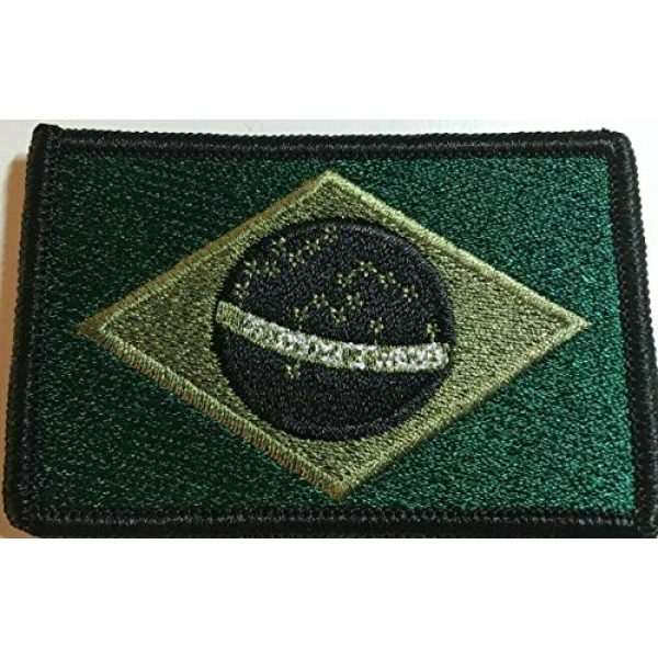 Fast Service Designs Airsoft Morale Patch 1 Brazil Flag Embroidered Patch Fastener Backing Hook & Loop Morale Tactical Shoulder Brazilian Emblem Black, Evergreen & Olive Colors Black Border #3