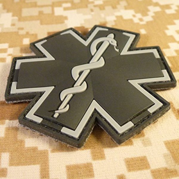 LEGEEON Airsoft Morale Patch 2 LEGEEON ACU Black EMS EMT Medic Paramedic Star of Life Morale Tactical PVC 3D Hook-and-Loop Patch