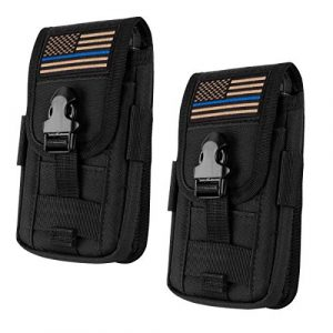 IronSeals Tactical Pouch 1 IronSeals 2 Pack Tactical Cell Phone Holster Pouch, Tactical Smartphone Pouches EDC Cellphone Case Molle Attachment Belt Holder Waist Bag with US Flag Patch