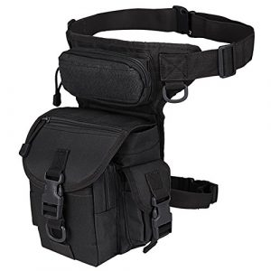 MAXTRA Tactical Pouch 1 MAXTRA Military Tactical Drop Leg Bag Tool Fanny Thigh Pack Leg Rig Utility Pouch Paintball Airsoft Motorcycle Riding Thermite Versipack, Black