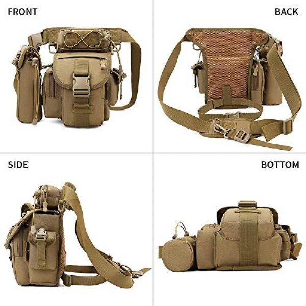 ACOMOO Tactical Pouch 2 ACOMOO Tactical Drop Leg Waist Bag Mens Outdoor Sport Thigh Hip Pack Utility Pouch Brown