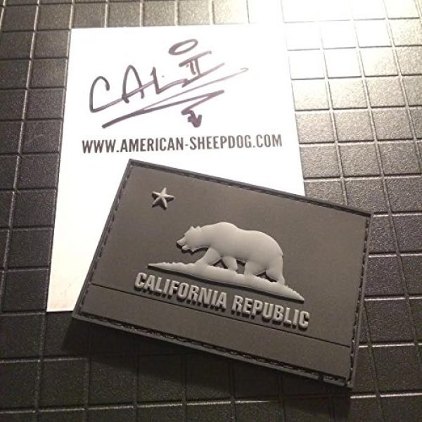 American Sheepdog Airsoft Morale Patch 1 American Sheepdog California State Flag PVC Patch - Ghost Edition
