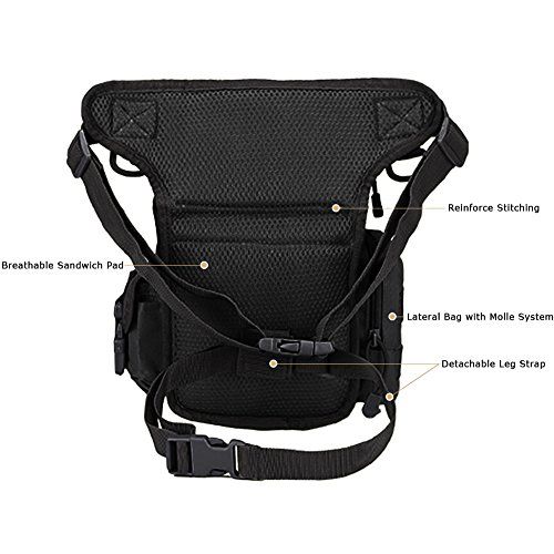 MAXTRA Tactical Pouch 4 MAXTRA Military Tactical Drop Leg Bag Tool Fanny Thigh Pack Leg Rig Utility Pouch Paintball Airsoft Motorcycle Riding Thermite Versipack, Black