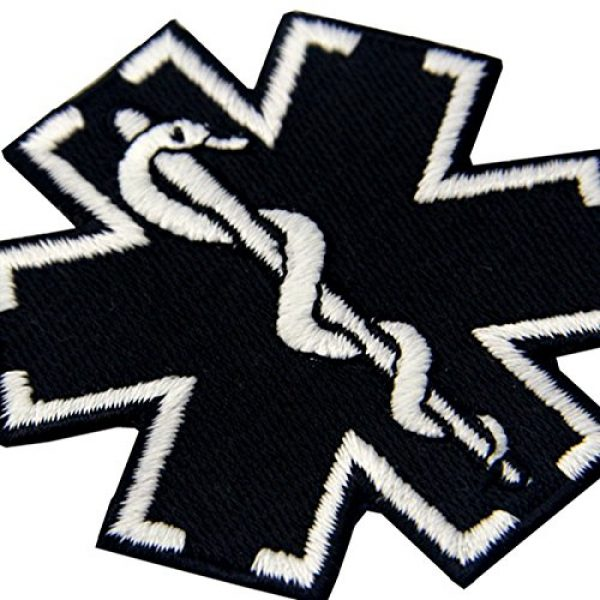 EmbTao Airsoft Morale Patch 6 EmbTao Glow in Dark ACU EMS EMT Medic Paramedic Star of Life Morale Tactical Embroidered Applique Iron On/Sew On Patch - Black & White