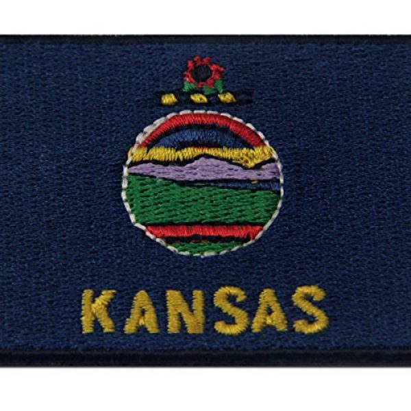 EmbTao Airsoft Morale Patch 2 Kansas State Flag Embroidered Emblem Iron On Sew On KS Patch