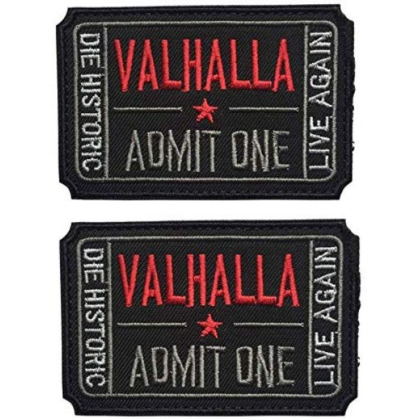 Beegame Airsoft Morale Patch 1 Ticket to Valhalla Admit One Vikings Mad Max 3D Embroidery/Rubber Tactical Badge Patches (Black)