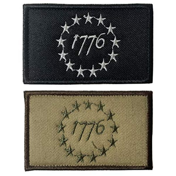 Antrix Airsoft Morale Patch 1 Antrix 2 Pcs Tactical USA American 1776 The Declaration of Independence Patriot Military Embroidered Applique Badge Emblem Hook & Loop Patch - Brown & Black(1776)
