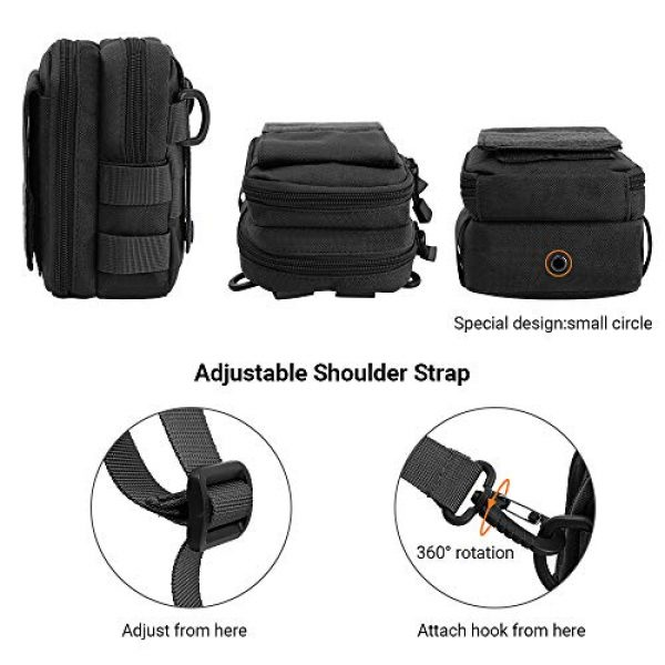 AIRSSON Tactical Pouch 4 AIRSSON Tactical Molle Pouch, 1000D Nylon EDC Belt Waist Pouch Molle Small Utility Gadget Gear Tool Black for Men