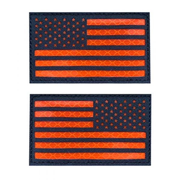 Hannah Fit Airsoft Morale Patch 1 2x3.5 Reflective US USA American Flag Tactical Patches Hook-Fastener Backing (1 Left + 1 Right (Black-Orange)