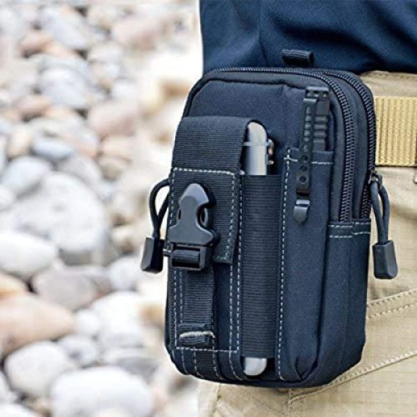 Bonlting Tactical Pouch 3 Outdoor Waist Bag Portable Waterproof Compact Cell Phone Carrying Case Holster Belt Waist Pouch with Zipper(Black)