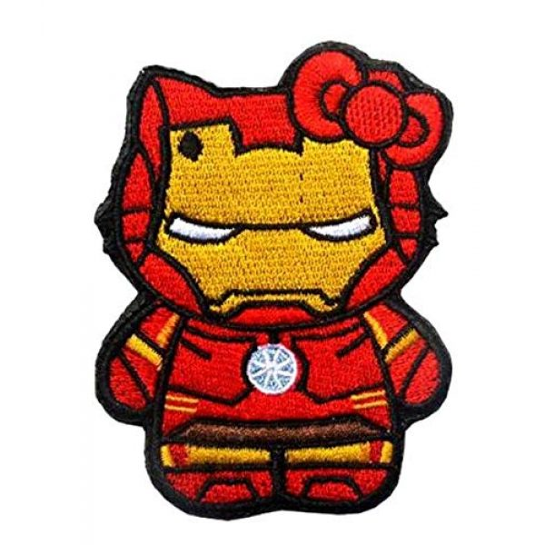 Embroidered Patch Airsoft Morale Patch 1 Iron Man Hello Kitty 3D Tactical Patch Military Embroidered Morale Tags Badge Embroidered Patch DIY Applique Shoulder Patch Embroidery Gift Patch