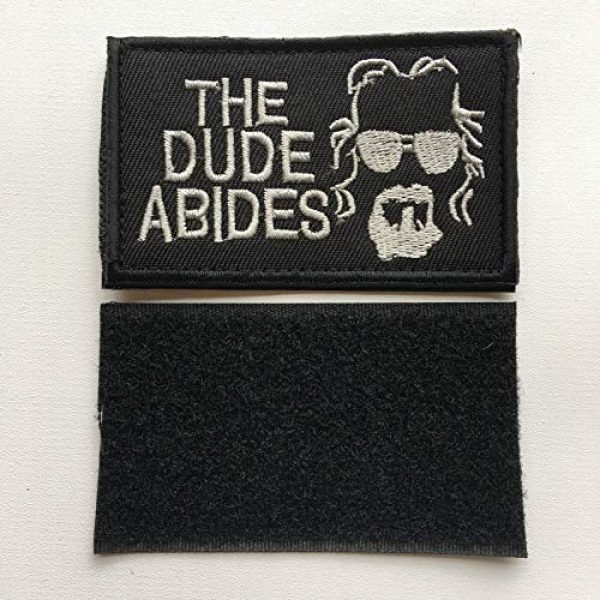 """Xunqian Airsoft Morale Patch 4 Big Lebowski The Dude Abides Pee Rug Patch. Perfect for Your Tactical Military Army Gear, Backpack, Operator Baseball Cap, Plate Carrier or Vest. 2x3"""" Hook Patch (A-Black)"""