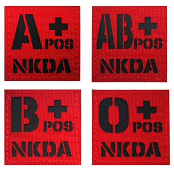 APBVIHL Airsoft Morale Patch 6 Infrared IR Reflective O POS O+ NKD O Positive Blood Type Patch, Tactical Morale Medical Patches with Hook and Loop Fastener Backing 1.97 x 1.97 Inch - 2 Pieces - No Known Drug Allergies