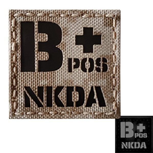 Tactical Freaky Airsoft Morale Patch 3 AOR1 Tan Digital Desert Infrared IR BPOS NKDA B+ Blood Type 2x2 Tactical Morale Fastener Patch