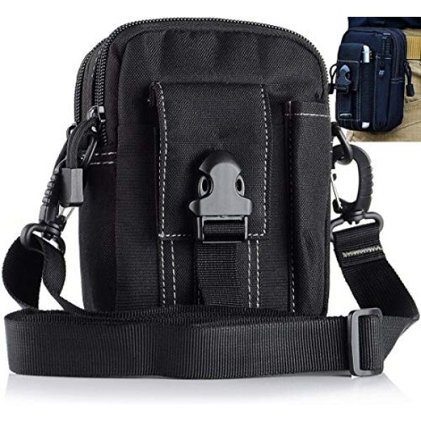JASLITE Tactical Pouch 1 JASLITE Tactical Molle EDC Pouch, Utility Pouch Bags 1000D Multipurpose Utility Gadget Belt Waist Bag,with Cell Phone Holster Holder, Shoulder Strap