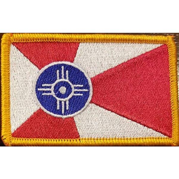 Fast Service Designs Airsoft Morale Patch 1 City of Wichita Kansas Flag Embroidered Patch with Hook & Loop MC Biker Tactical Morale Shoulder Travel Emblem Gold Border