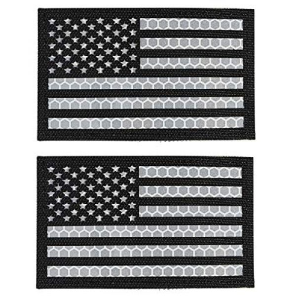 IronSeals Airsoft Morale Patch 1 IronSeals 2 Pack Reflective USA Flag Patch, Morale American Flag Patches with Hook-Fastener Backing