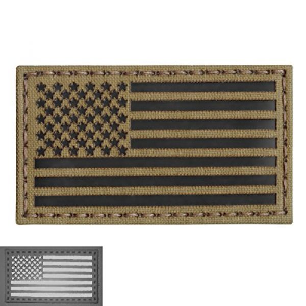 Tactical Freaky Airsoft Morale Patch 5 Coyote Brown Tan Infrared IR USA American Flag 3.5x2 IFF Tactical Morale Touch Fastener Patch