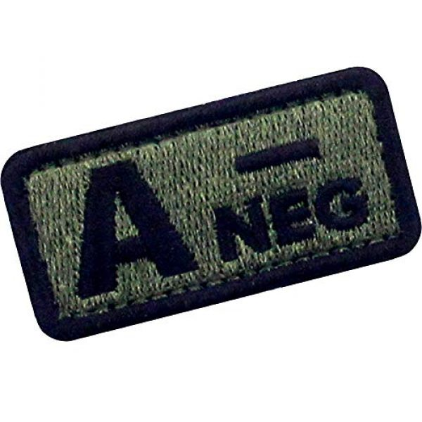 """EmbTao Airsoft Morale Patch 3 EmbTao Type A Negative Tactical Blood Type Patch Embroidered Morale Applique Fastener Hook & Loop Emblem - Green & Black - 2""""x1"""""""