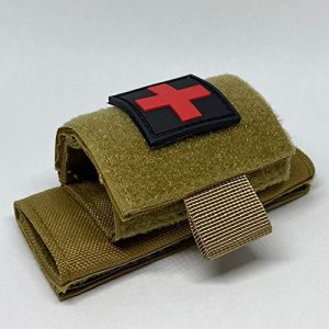 Brass Tactical Pouch 1 Brass Half Full Tactical Police & Military Belt Tourniquet Holder/Pouch for CAT/SOF-T/SWAT-T/Rats, Hook-and-Loop Patch Panel (Comes w/1 First Aid Medical Cross Patch) (Coyote Brown- Belt Mount)