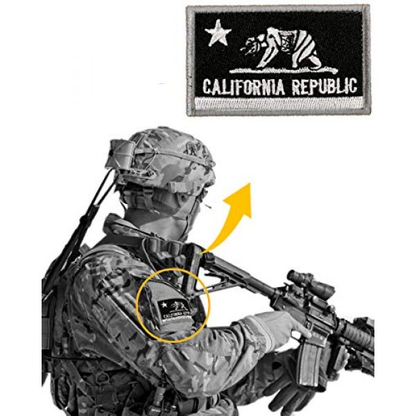 JumpyFire Airsoft Morale Patch 6 Bundle 2 Packs California Republic Flag Velcro Patch Badges, Personalized Military Patch Set, Fully 3D Embroidered Hook and Loop Morale Patches