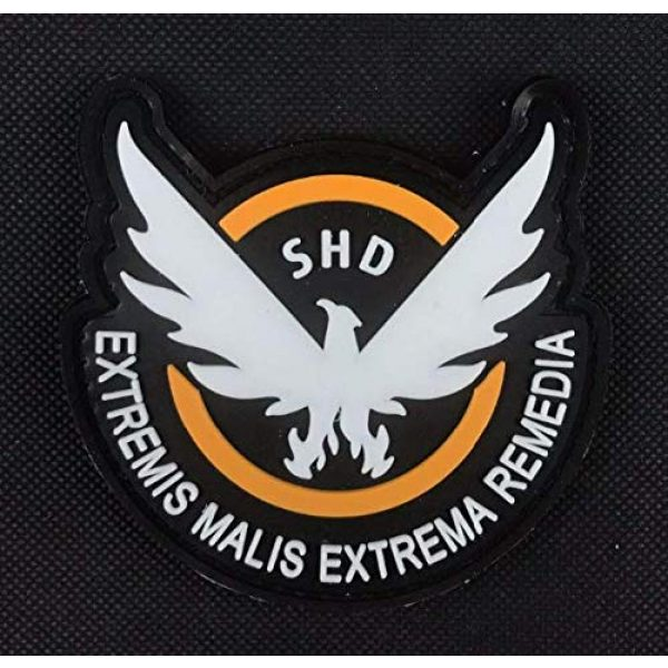 Tactical PVC Patch Airsoft Morale Patch 3 Game Airsoft Division SHD Wings Out PVC Military Tactical Morale Patch Badges Emblem Applique Hook Patches for Clothes Backpack Accessories