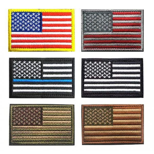 Antrix Airsoft Morale Patch 1 Bundle 6 PCS Tactical American Flag Patch, USA Flag Patch,US Flag Patch, Thin Blue Line Coyote Brown Army Green Embroidered Emblem Badge Applique Fastener Hook & Loop Patch for Clothes Uniform Patriot