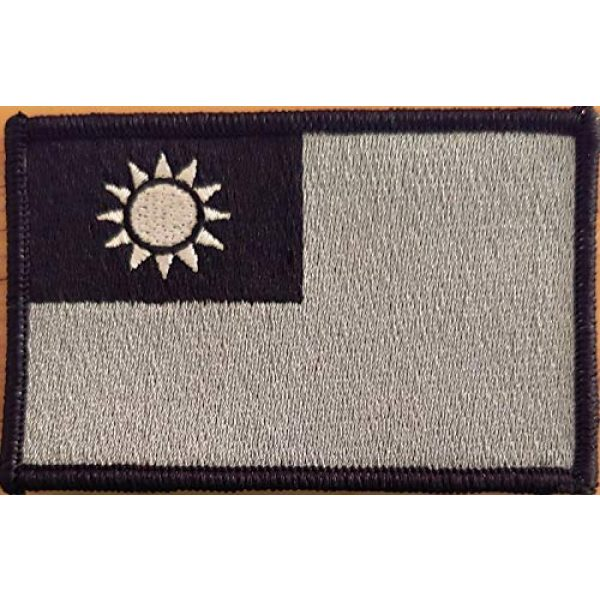Fast Service Designs Airsoft Morale Patch 2 Taiwan Flag Patch Black, White & Gray with Hook & Loop Travel Patriotic Morale Emblem Black Border