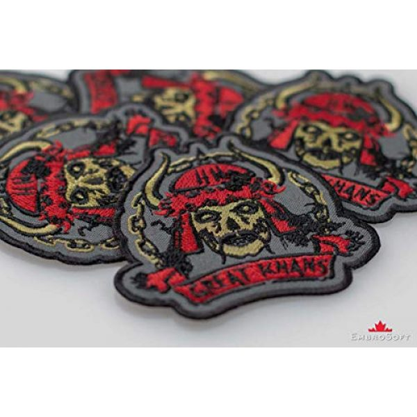 """Embrosoft Airsoft Morale Patch 5 Fallout New Vegas Great Khans Gang Emblem Embroidered Patch Iron On (3.5"""" x 3.3"""")"""