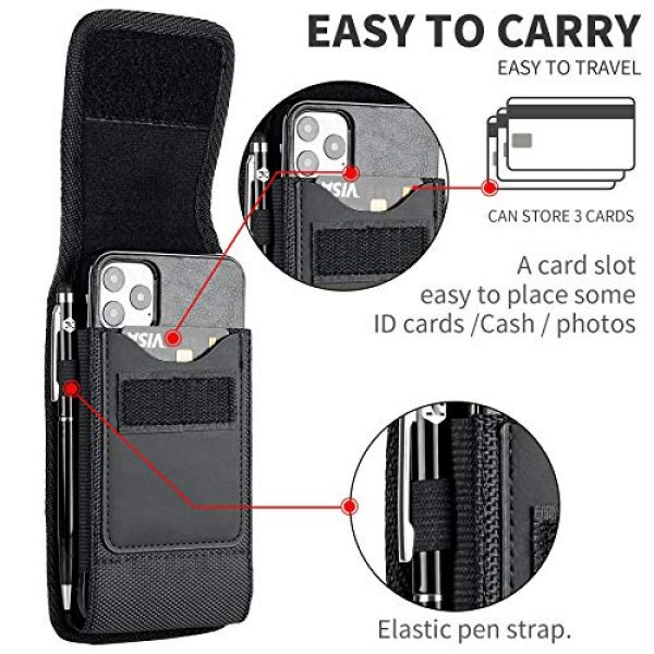 Aatacas Tactical Pouch 5 Tactical Carrier with [Belt Loop & Holster] Heavy Duty Rugged Nylon Carrying Case Pouch Phone Holder Belt Case with Clip, Fits Cell Phone with Thin Case On