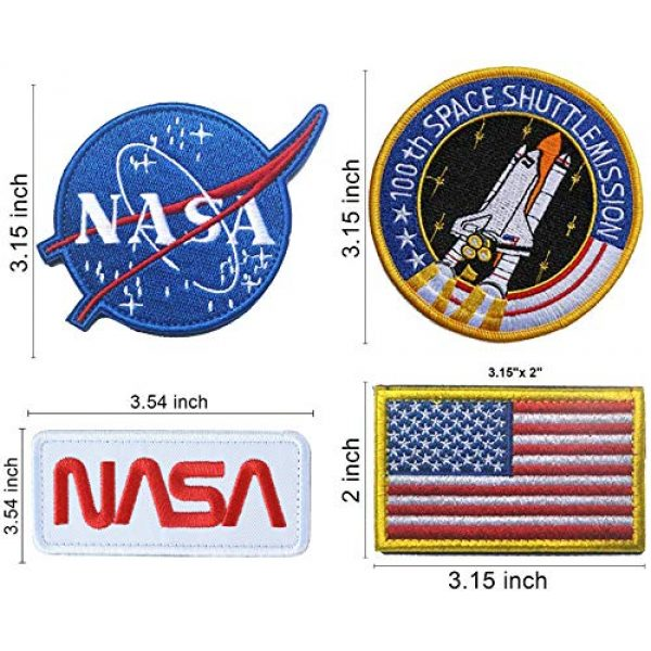 TONIFUL Airsoft Morale Patch 2 NASA Tactical Flag Embroidered Patch, US Flag Patch Combination, USA NASA Fabric Patch Morale Lot Military Patches (4 Pcs)