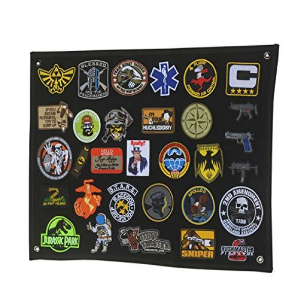 LanXin Airsoft Morale Patch 7 Tactical Military Combat Morale Patch Holder Panel Wall Display Board Patch Hang Display Poster Frame Hook and Loop Backing Patch Board (43.3 x 27.5 inch)