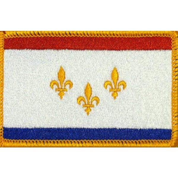 Fast Service Designs Airsoft Morale Patch 1 New Orleans Flag Patch with Hook & Loop MC Biker Morale Tactical Morale Emblem #08 (Gold Border)
