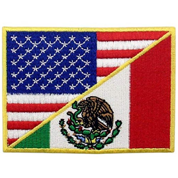 EmbTao Airsoft Morale Patch 2 USA American United State Flag and Mexico Flag Patch Embroidered National Applique Iron On Sew On Emblem, Multi-Color